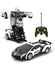 DEERC ラジコンカー こども向け スタントカー リモコンカー 車 おもちゃ ロボットに変換 360°回転 警察車 デモモード 使用時間45分 2.4GHz無線 国内認証済み おもちゃ プレゼント 贈り物DE39