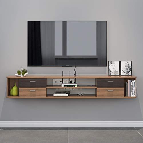 Wand-TV-Regal 1.42m schwimmendes Regal TV Media-Möbel Set-Top-Box DVD-Player Projektor Router Lagerung Regal Audio-Video Regalfernsehständer mit 4 Schubladen ( Color : Walnut , Size : 1.42m )