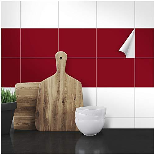Wandkings Fliesenaufkleber - Wähle eine Farbe & Größe - Weinrot Seidenmatt - 15 x 20 cm - 20 Stück für Fliesen in Küche, Bad & mehr