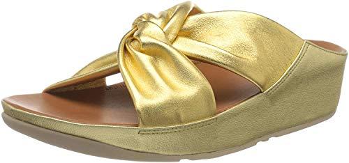 Fitflop TWISS SLIDE, Damen Offene Sandalen mit Keilabsatz, Gold (Artisan Gold 667), 39 EU (6 UK)