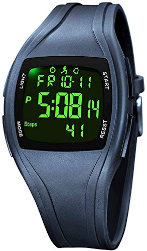 TEZER Digital Armbanduhr Digitaluhr Herren Damen Uhr Digital Sportuhr mit Stoppuhr/LED-Hintergrundbeleuchtung/Timer/Kalender wasserdichte Digitale Armbanduhr (Blau)