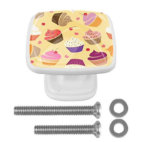 [4 unidades] Tirador de cajón de cristal para gabinete de gabinete con tornillos para el hogar, oficina, gabinete de armario, pastel de cerezo