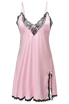 Ekouaer Women's Silk Chemise Satin Sleepwear Plus Size,Pink,Small