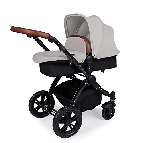 Ickle Bubba Stomp V3 2-in-1 Carrycot & Pushchair Travel System (Silver with Tan Handles, Black Chassis)