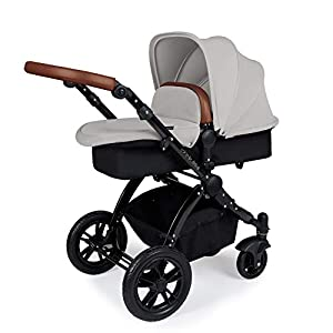 Ickle Bubba Stomp V3 2-in-1 Stroller System | Carrycot & Pushchair | Silver on Black Frame   1