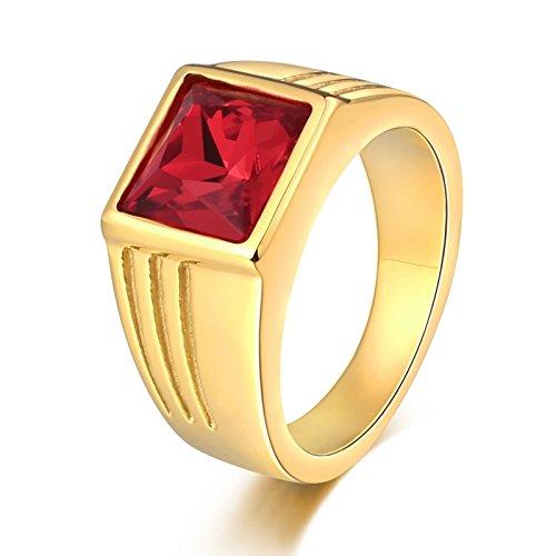 Blisfille Anillos de Versache Anillo Acero Inoxidable Parejas Anillos para Hombre de Calaveras Rojas Tamaño 17,Oro Rojo