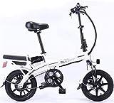 RDJM Bici electrica, Bicicleta eléctrica Plegable de Acero al Carbono de Litio de la batería del Coche Doble Adulto Bicicleta eléctrica Auto-conducción for Llevar (Color : White, Size : 20A)