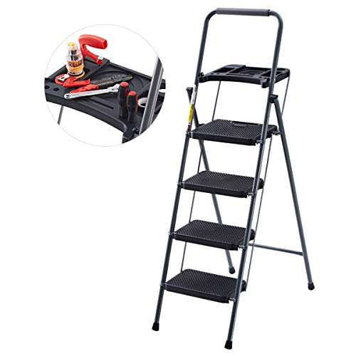 Finether Folding 4 Step Ladder with Platform Lightweight Portable Step Stool with Tool Project Tray, Non-Slip Treads, 330 lbs Weight Capacity