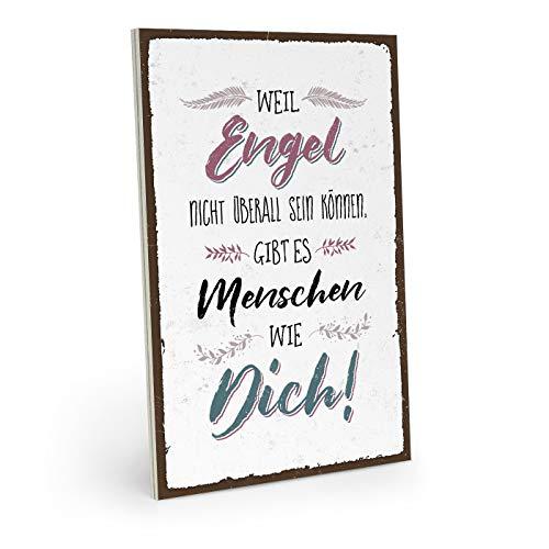 ARTFAVES Holzschild mit Spruch - Weil Engel Nicht überall Sein können - Vintage Shabby Deko-Wandbild/Türschild