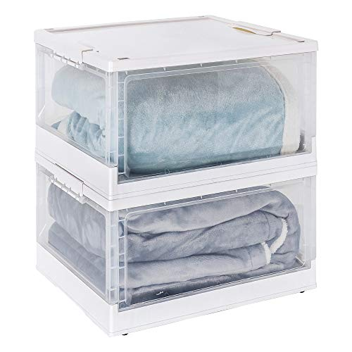 YORBAY Cajas de Plastico Almacenaje, Transparente con Tapa con Ruedas, Apilable y Plegable 40L x 2 Blanco