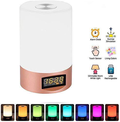 KYLL Despertador USB luz de alarma del reloj del cargador, radio despertadores con la salida del sol Simulación 5 sonidos de la naturaleza, de control táctil, los niveles de luz de la noche de noche 3