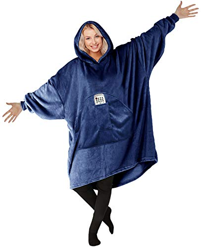 HOMELEX Blanket Hoodie Plush Wearable Blankets - Softest Warmest Giant Front Pocket for Adults (Blue)