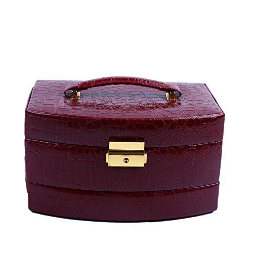 Rack de Stockage Cosmétique Sac cosmétique portatif occasionnel de couleur rouge de vin pour le maquillage et le voyage de beauté avec la tirette Boutique Rouge à Lèvres Parfum Bijoutier
