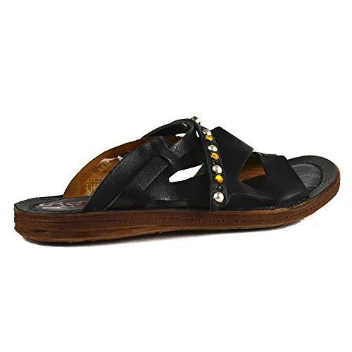 A.S.98 Airstep Damen Leder Sandalen Schuh Pantoletten Clog Schwarz : 36 EU Schuhgröße 36