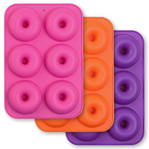 Cozihom Lot de 3 moules à donuts en silicone à 6 cavités - Anti-adhésifs - Silicone de qualité alimentaire - Sans BPA