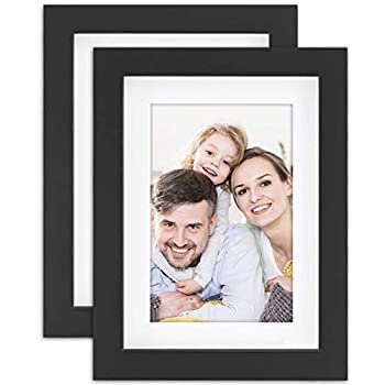 5x7 Black Picture Frames Nature Solid Wood 2 Pack for Wall Mounting and Tabletop Display