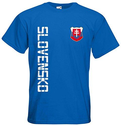 Slowakei Slovensko T-Shirt Trikot Basic EM-2021 Royalblau L