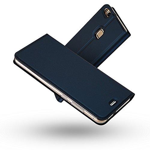 Radoo Huawei P10 Lite Hülle, Premium PU Leder Handyhülle Brieftasche-Stil Magnetisch Folio Flip Klapphülle Etui Brieftasche Hülle Schutzhülle Tasche Hülle Cover für Huawei P10 Lite (Blau)