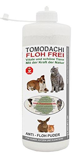Tomodachi Flohfrei Flohpulver Hund, Kieselgur, Flohkiller gegen Hundeflöhe, Flohmittel für Hunde, natürliche Kieselerde, AntiFloh Puder ohne chemische Zusätze, 1 Liter Stäubeflasche