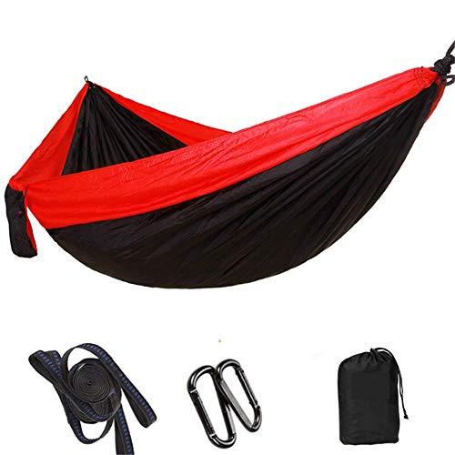 LHFLU-SP Hamaca portátil Doble Persona Camping Supervivencia Jardín Columpio Caza Colgando Sillón de Dormir Muebles de Viaje Paracaídas Hamacas 300 * 200 CM,Red Black