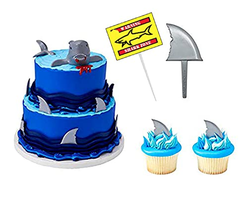 Shark Party Birthday Cake and Cupcake Toppers (Set of 12)