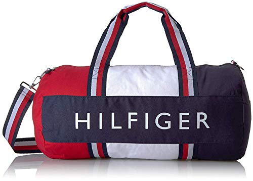 Tommy Hilfiger Patriot Duffle Bag with Wide Navy, Red and White Stripe Handles