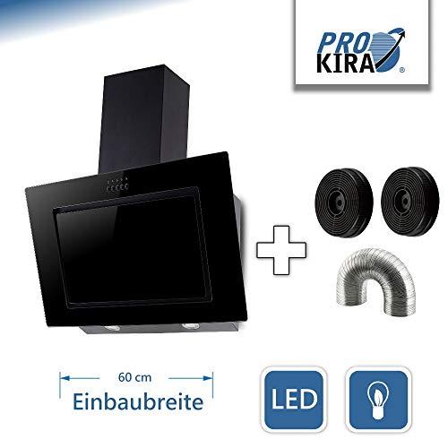 PROKIRA DH60 GB-01 de Luxe Kopffreihaube Wandhaube Schräghaube Dunstabzugshaube Umluft Abluft Haube Schwarz LED Glas 60cm 610qm³/h !!!