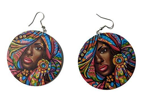 Niña con bufanda multicolor de la cabeza Pendientes africanos de madera para mujer África
