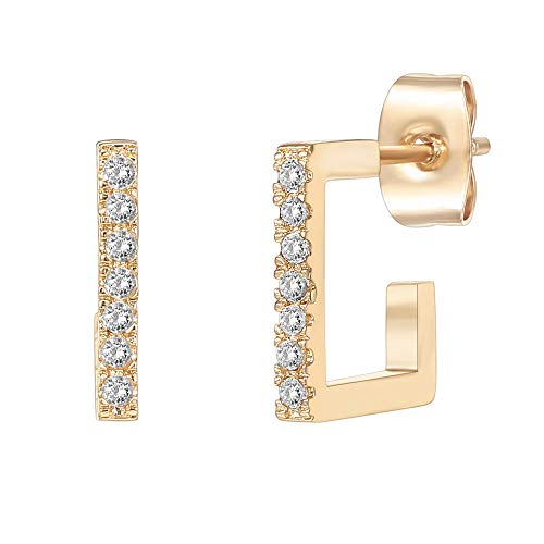 PAVOI 14K Gold Plated 925 Sterling Silver Post Square Huggie Hoop Earrings - Cubic Zirconia Earrings in Yellow Gold Plating