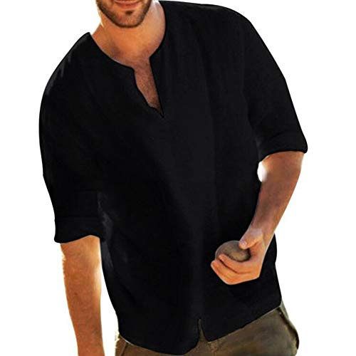 Men's Fashion Cotton Linen Shirts V-Neck Loose Fit Solid Color Summer Top Black XXL