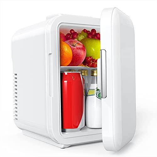 Mini Kühlschrank, Lifelf 4 Liter / 6 Dosen, mobiler Auto Kühlschrank mit Kühl– und Heizbetrieb, AC 220V / DC 12V, 68W Stromverbrauch niedrig, für Auto Büro Küche Schülerheim Gartenhaus.