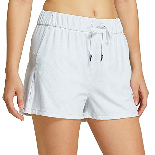 """Willit Women's Yoga Lounge Shorts Hiking Active Running Workout Shorts Comfy Travel Casual Shorts with Pockets 2.5"""" Heather White M"""