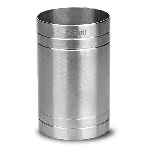 drinkstuff Messbecher für Wein aus Edelstahl (Weißwein / Rotwein), 125ml