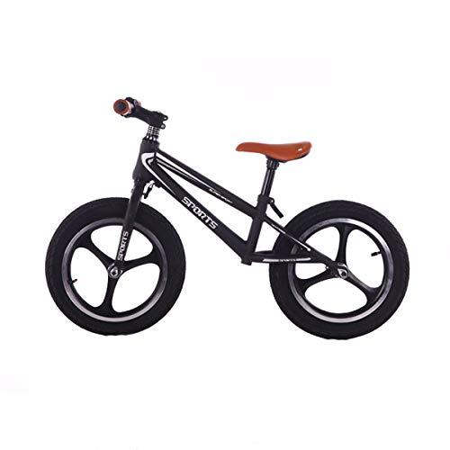 Bicicleta de Equilibrio de 12'/ 14', Bicicleta de Entrenamiento de Equilibrio de Pedal, Altura Ajustable, Primera Bicicleta Segura y cómoda para niños y niños pequeños de 2 a 7 años (Negro),14',2