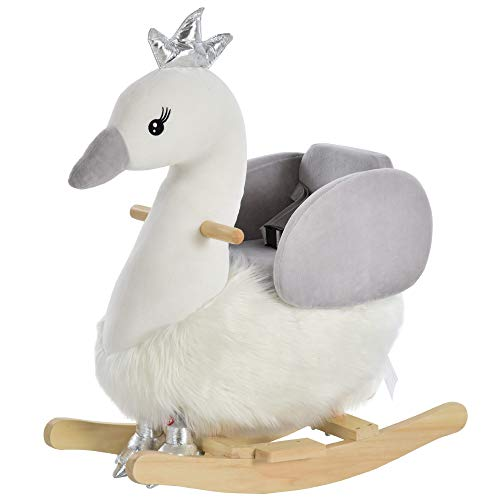 HOMCOM Kids Children Rocking Horse Plush Ride On Swan w/Sound Wood Base Seat Safety Belt Toddler Baby Toy Rocker 18-36 Months