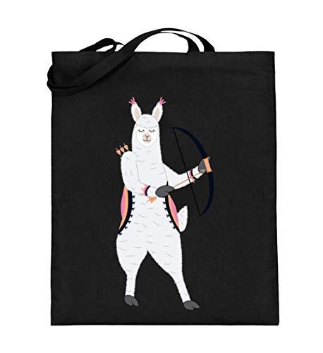 Chorchester Alpaka mit Pfeil und Bogen für Tier Fans - Jutebeutel (mit langen Henkeln) -38cm-42cm-Schwarz