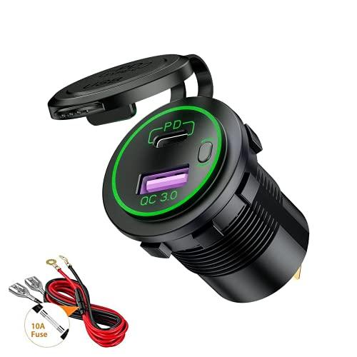 Thlevel Tipo C PD y QC3.0 Toma USB Coche 12V / 24V Cargador de Coche Impermeable con Interruptor y LED Indicador para Coches, Motos, Vehículos Recreativos, Camiones, Barcos (Verde)