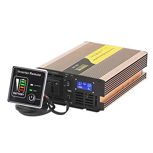 Inversor de onda sinusoidal pura de 1000 W Convertidor de 12 V / 24 V / 48 V CC a 110 V / 220 V CA - 1 tomacorriente CA, 1 puerto USB Inversor de corriente para automóvil con pantalla LCD, control r