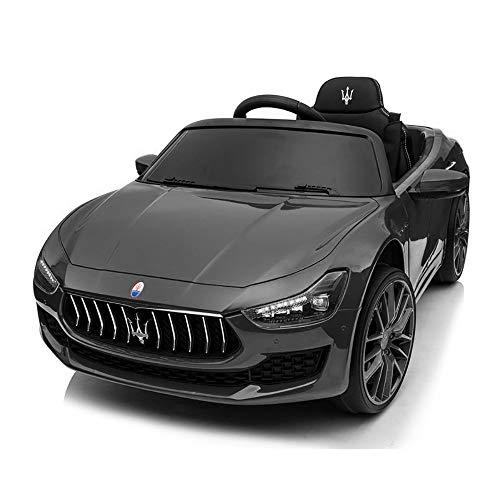Auto Elettrica per Bambini Macchina Maserati Ghibli Motore 12V Fari LED Luci Suoni Lettore MP3 Cavo AUX USB Telecomando (Nero)