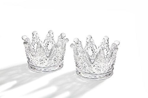Studio Silversmiths Clear Glass Crown Design Votive Tea Light Candle Holders, Set of 2