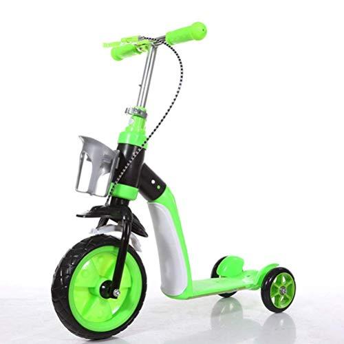 Kids toys Didiwei Transformable Children Three Wheel Scooter Ride Walker Al aire libre Triciclo para interiores Bebé 2 en 1 balance Bike Paseo en Juguetes Cochecito (Color: Verde) ( Color : Green )