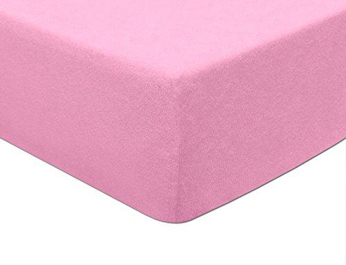 MODHAUS - Lenzuolo con angoli elasticizzati, in spugna, colore: rosa chiaro (170-180 x 200)