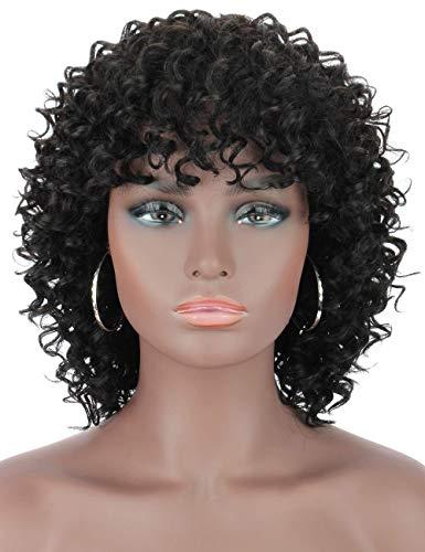 Kalyss Short Curly Echthaar Perücken für schwarze Frauen 100% brasilianisches Remy Echthaar 130% Dichte Keine Lace Front Short Bob Black Hair Perücken für Frauen