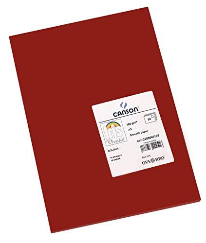 Canson 200040195 Iris Vivaldi glattes, farbiges Papier, A3, dunkelrot 16