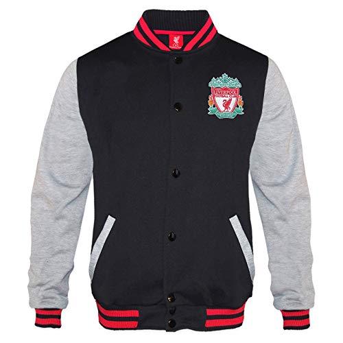 Liverpool FC Official Gift Mens Retro Varsity Baseball Jacket Black Large