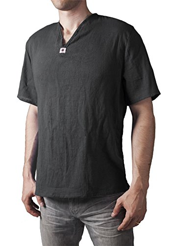 LOFBAZ T-Shirt for Men Beach Shirts Mens Hippie Clothing Yoga Tunic Pirate Clothes Summer Vest Renaissance Indian Kurta Short Sleeve Black Small