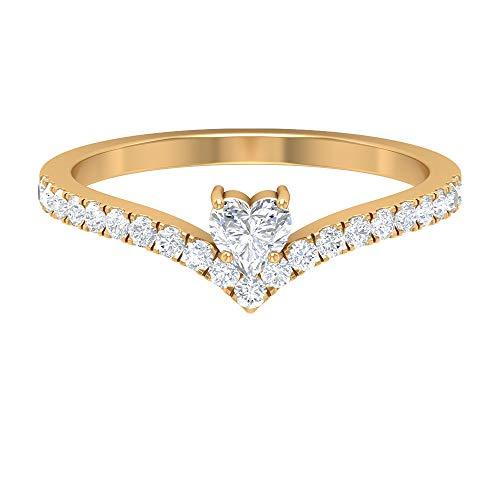 Anillo de corazón de diamante de 4 mm para mujer, anillo de galón de diamante de 1/2 quilates, anillo de oro en forma de V, 14K Oro amarillo, Size:EU 62