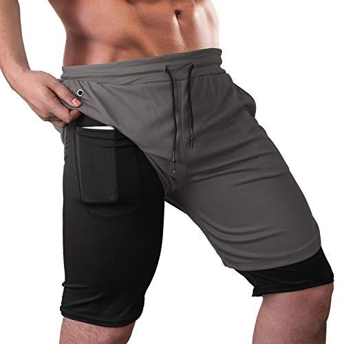 Lixada Pantalones Cortos Deporte Hombre 2 en 1 con Bolsillos Pantalones Deportivos para Entrenamiento Running Fitness