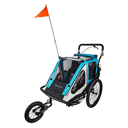 Fantastic Prices! Sunlite Convertible Trailer Tot, Combo Jogger/Bike Trailer, Blue/Grey