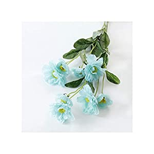 Misscany 1 Branch 6 Colors DIY Artificial Flowers Rosemary Two Silk Flower Fake Plant for Wedding Home Party Decoration,Blue